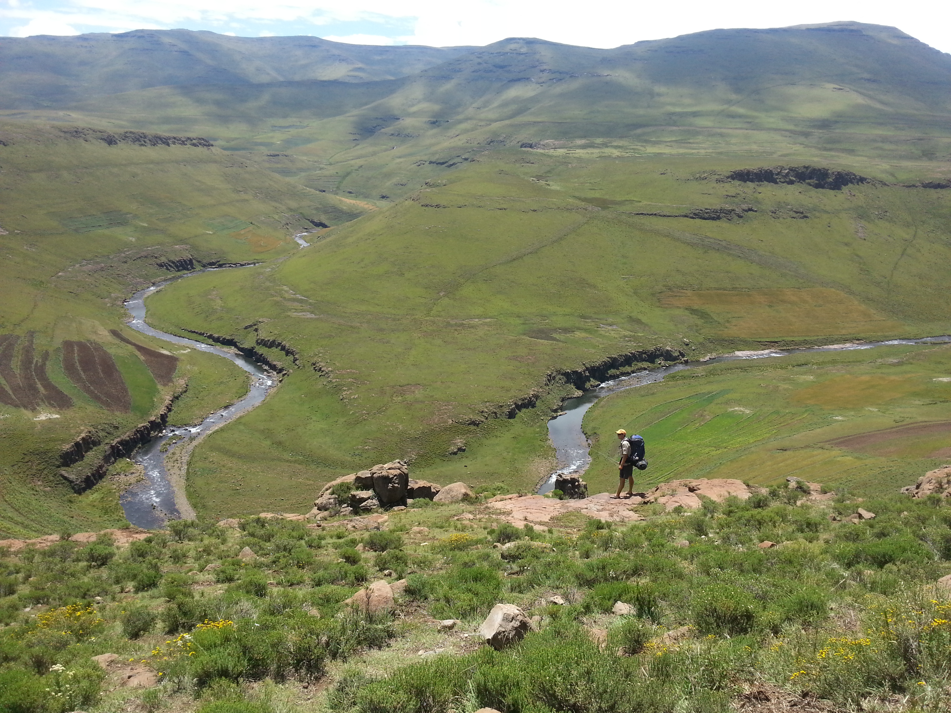 fly fishing for trout in lesotho highlands with Rex Fey.