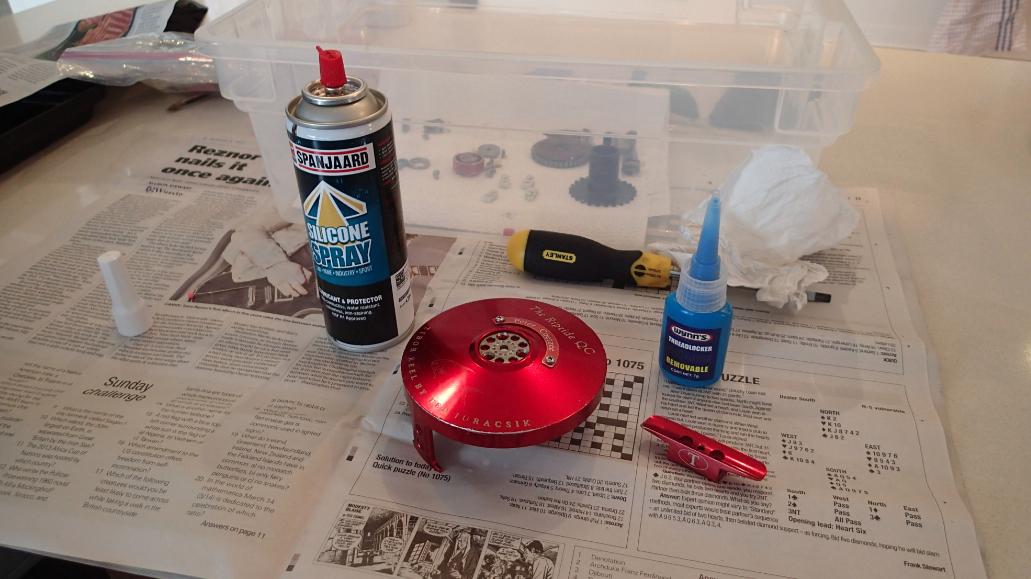 Put together using graphite lube, loctite & silicon spray