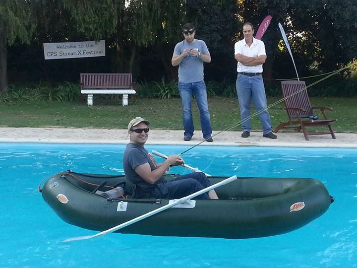 David Karpul giving a boat a paddle on Friday afternoon.