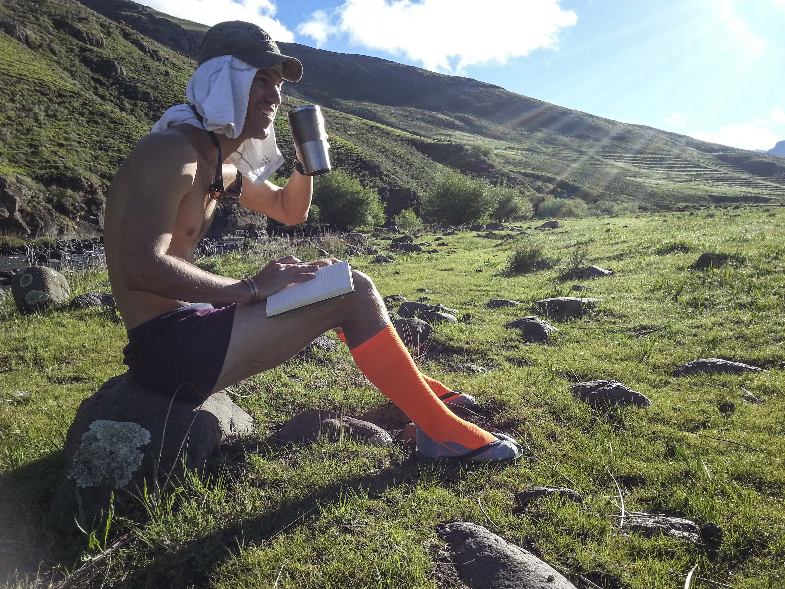 Coffee, journal and views. Life is only better in neon socks!