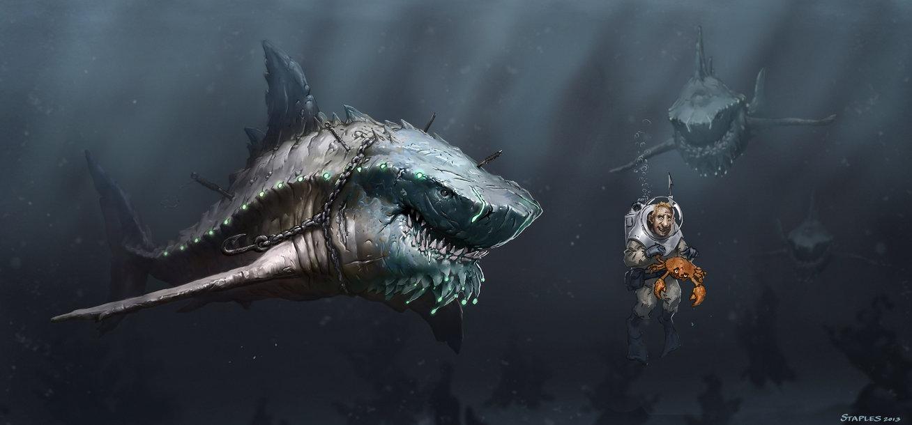 shark_vs_diver_by_staplesart-d61i5dn