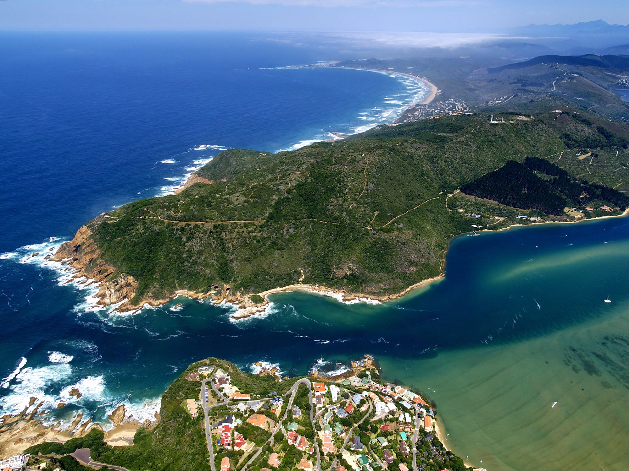 The Knysna Heads and a corner of the Leisure Isle flats.